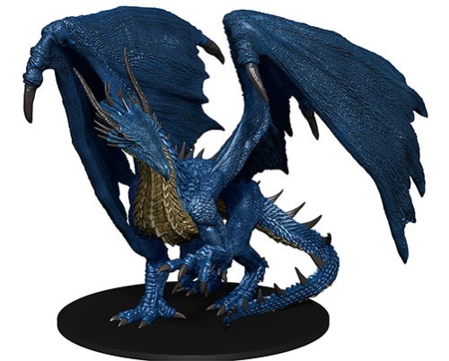 Blue-scale dragon miniature, large wings unfurled.
