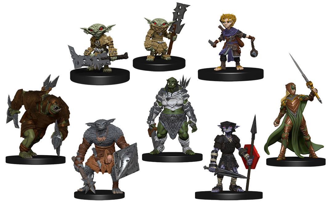 8 miniatures shown: a goblin dog-slicer with a lowered sword in hand, goblin guard with large bladed weapon - taller than the guard itself - resting on the ground in hand, halfling slinger, charging orc charger, bugbear skulker with diamond shield and mace, orc battler with sword in hand and additional arrows or spears strapped on the back, hobgoblin soldier with hexagon shield on arm, long spear and pointed sword in hand, and armored elf soldier holding a long sword aloft.