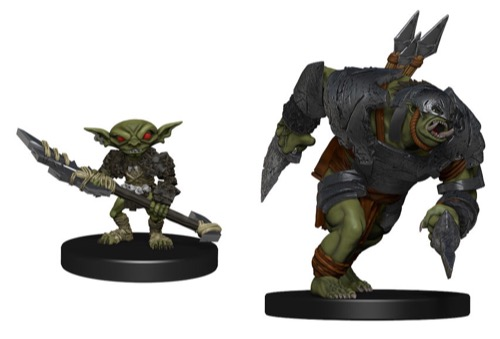 2 miniatures shown: a goblin with a long axe in hand, and a charging orc rampager with daggers.