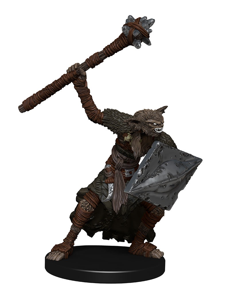 A bugbear mauler, large rectangular shield in the left hand, right arm raised with a weapon similar to a glaive. He leans forward as though rushing toward battle.