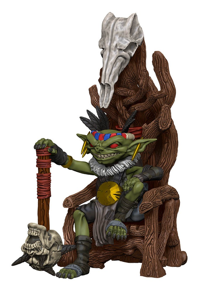 A goblin chief sits on a skull-faced throne.