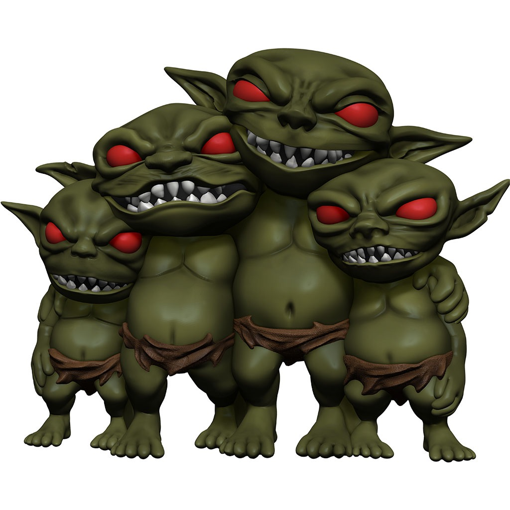 Four grinning goblin babies.