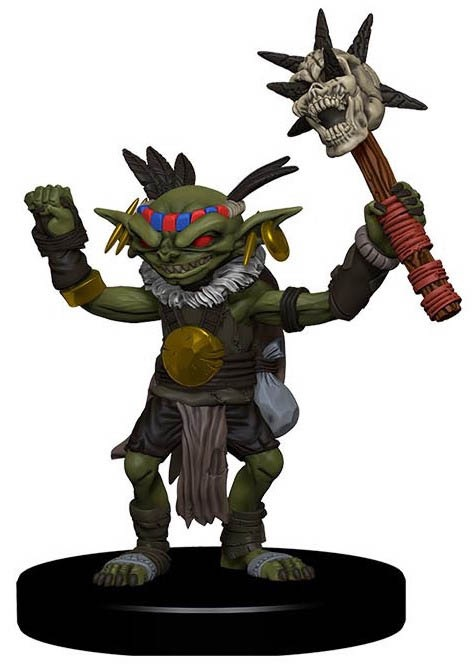 A goblin chieftain with both hands in the air. The left hand holds a mace with a skull on the end, spikes poking through the openings.