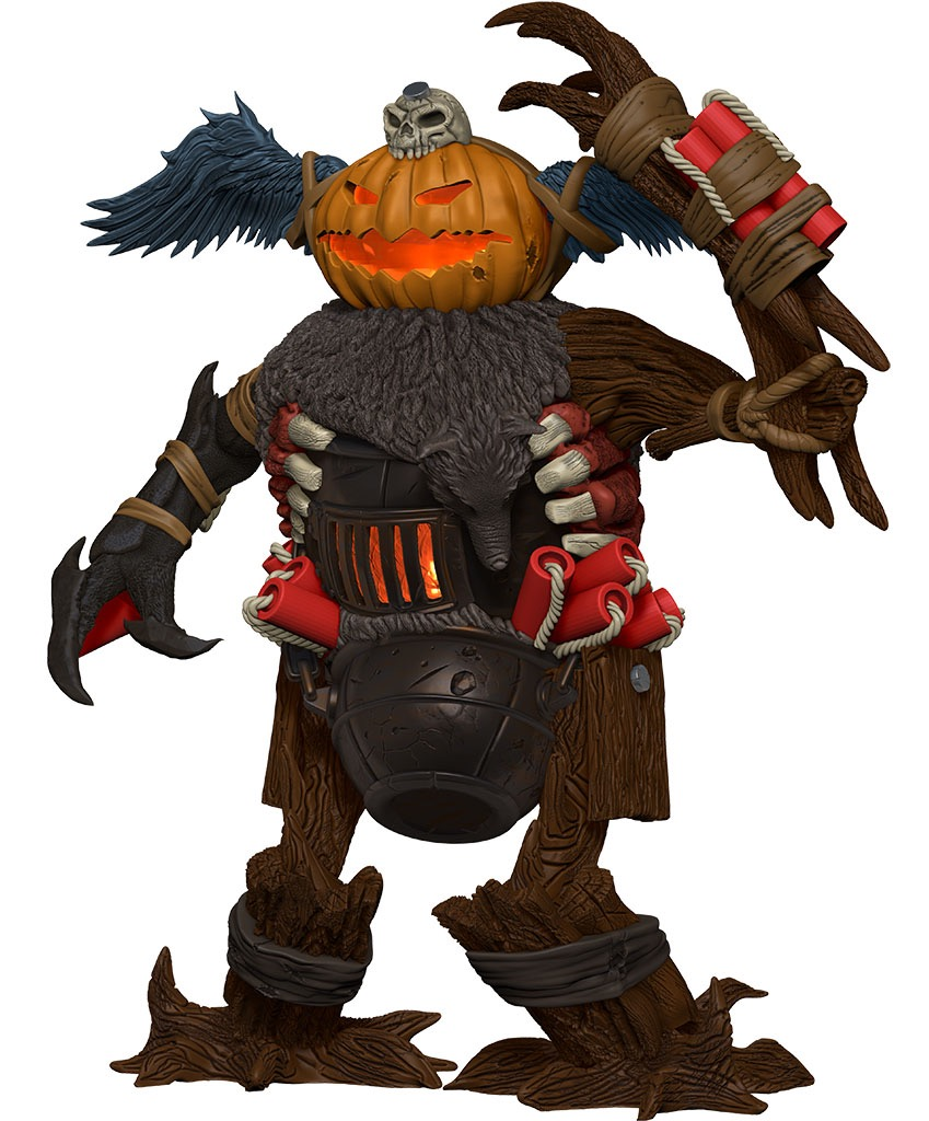 A goblin-like figure  made from various pieces of junk. The head is a glowing jack-o-lantern with a skull on top.