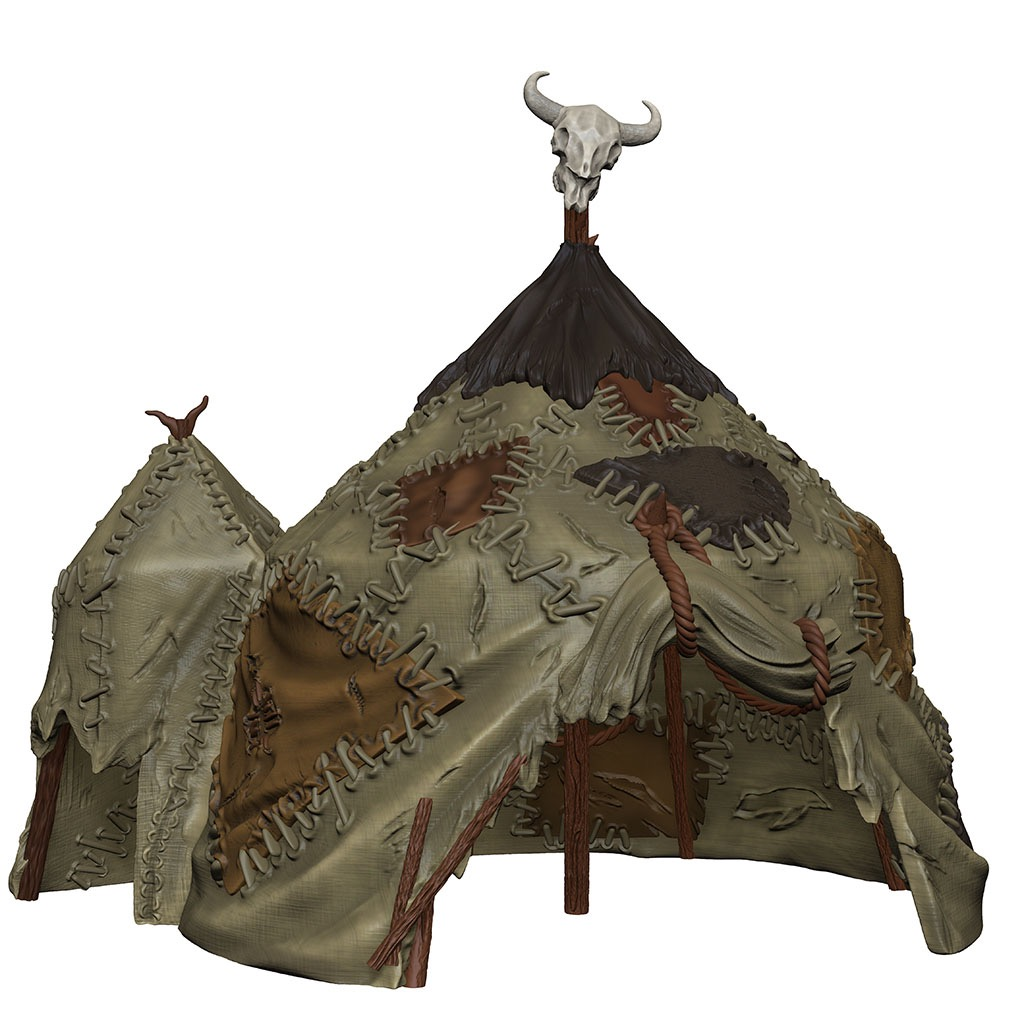 A double-tentpole goblin tent covered in roughly sewn-on patches.