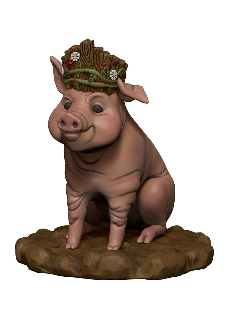 A happy, smiling pig in a sitting position. He wears a wooden crown with flowers on it.