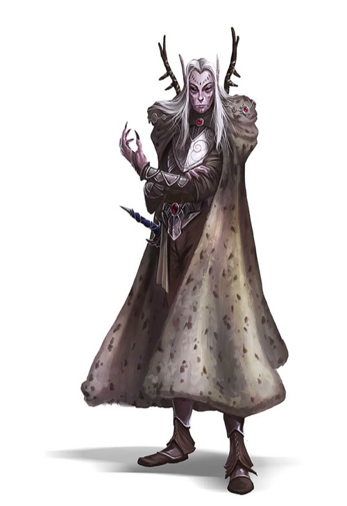 Slender elf in a long thick cloak with ornate shoulder pads.