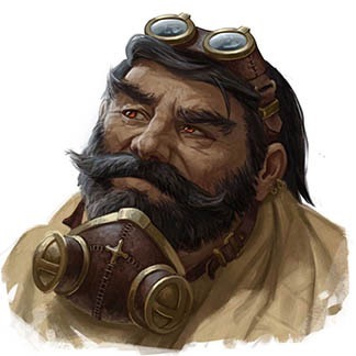 Kulenett dwarf with leather goggles and mask, thick facial hair.
