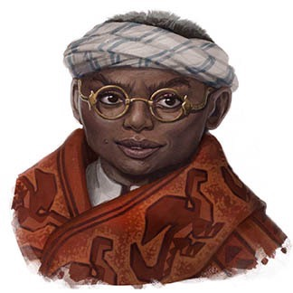 Darker skinned Mbe'ke dwarf with wire framed glasses. A white scarf is wrapped around the head, leaving the top of the head exposed. He wears what looks like a heavy red robe with an animal pattern on it.