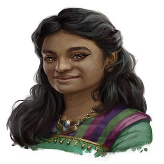 Female Pahmet dwarf, long wavy hair pulled back behind her ear. She wears a green top with purple striping on the sleeves and a gold chevron necklace.