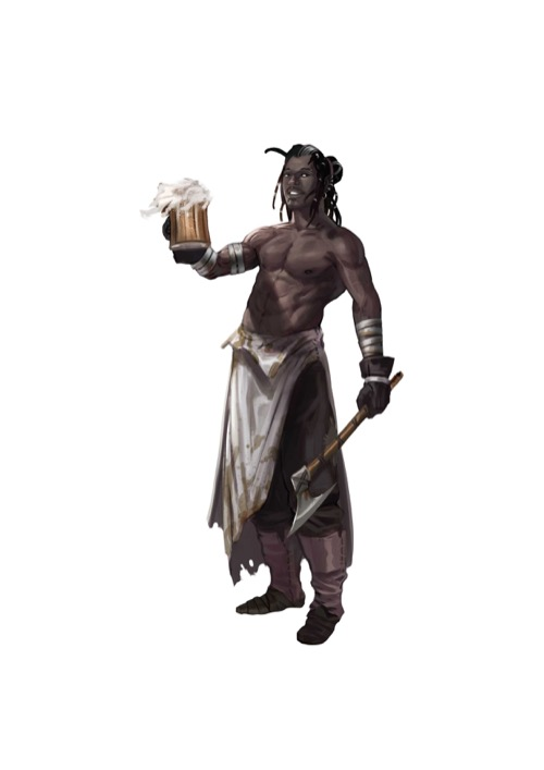 A shirtless Firebrand raises a full mug of beer in his right hand while grasping an axe in the other.