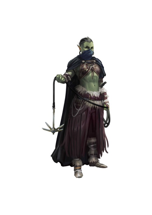 A half-orc with a cloak concealing the lower half of her face prepares to throw a grappling hook.