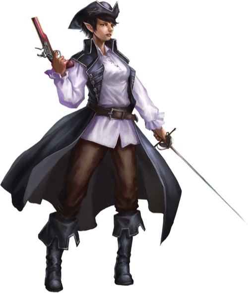 A female half-elf in a flowing black cloak, tricorn hat and white shirt wields a flintlock pistol in one hand and a rapier in the other.