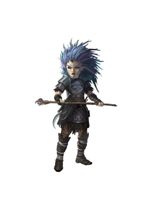 A fierce-looking gnome with tangled blue-and-purple hair holds a gnarled staff in both hands.