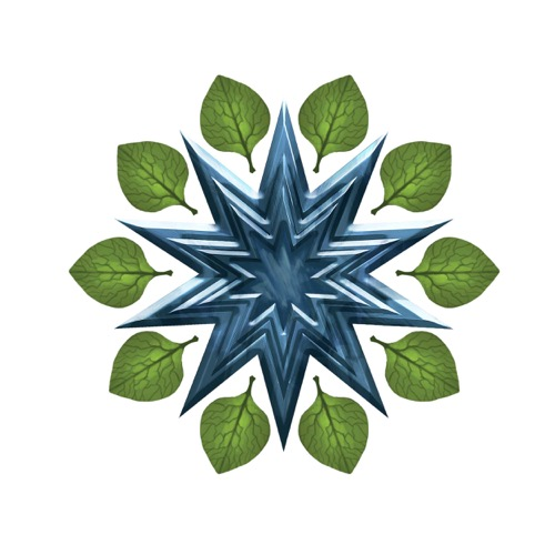The icon of the Magaambya, a ten-pointed blue star ringed with green leaves.