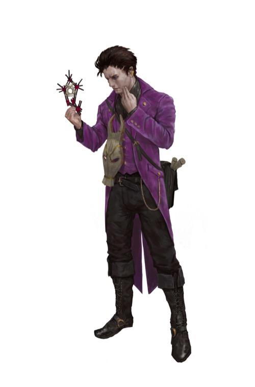 A male human with a purple coat and wooden animal mask hanging around his neck closely examines an intricately crafted artifact.