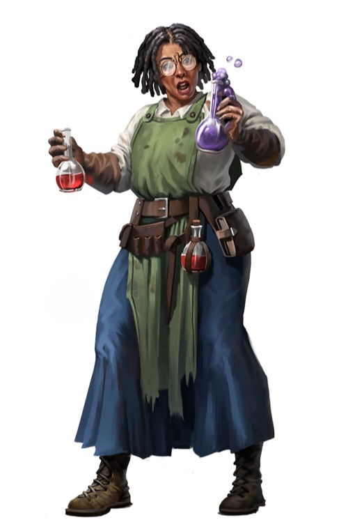 A human alchemist in a stained smock gapes in surprise as the vial of purple liquid in her left hand begins to bubble over.