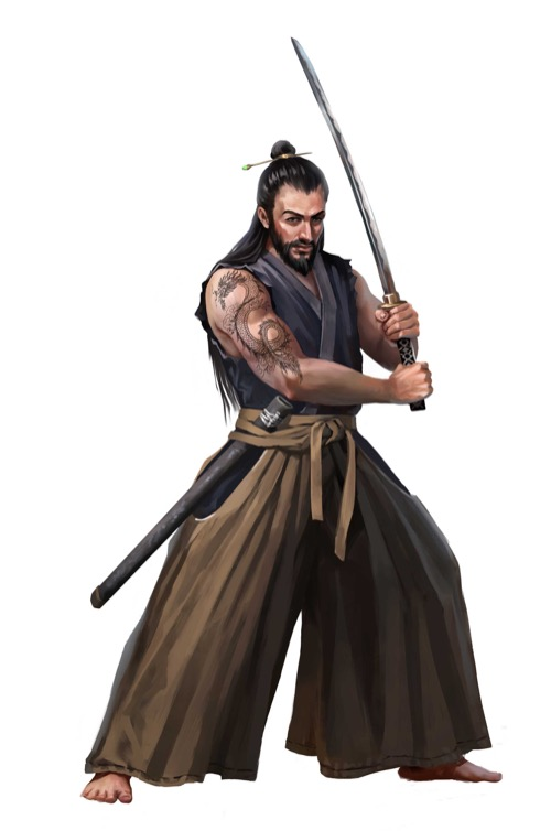 A robed swordsman with an intricate dragon tattoo on his right bicep wields a katana in both hands.
