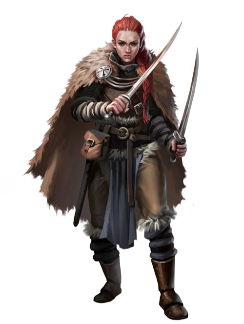 A human woman with a heavy fur cloak and her red hair in a long braid brandishes a short sword in each hand.