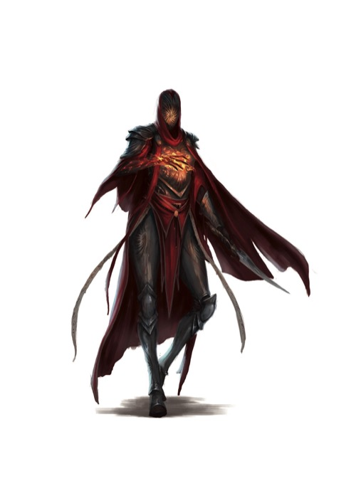 An Order of the Gate Hellknight in a red cloak and hood, face hidden by a swirling magical vortex, raises one hand crackling with fiery magical energy.