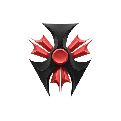 The crest of the Hellknights, an imposing bladed symbol in red and black.