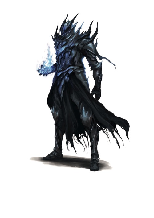 An Order of the Pyre Hellknight in spiked blue-gray armor raises a hand wreathed in blue glowing magical energy.