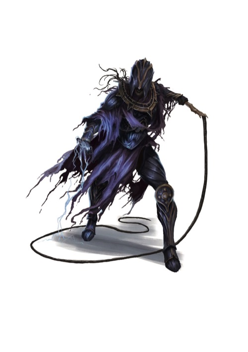 An Order of the Rack Hellknight in a face-covering half helm and flowing blue rags wields a dangerous-looking whip.
