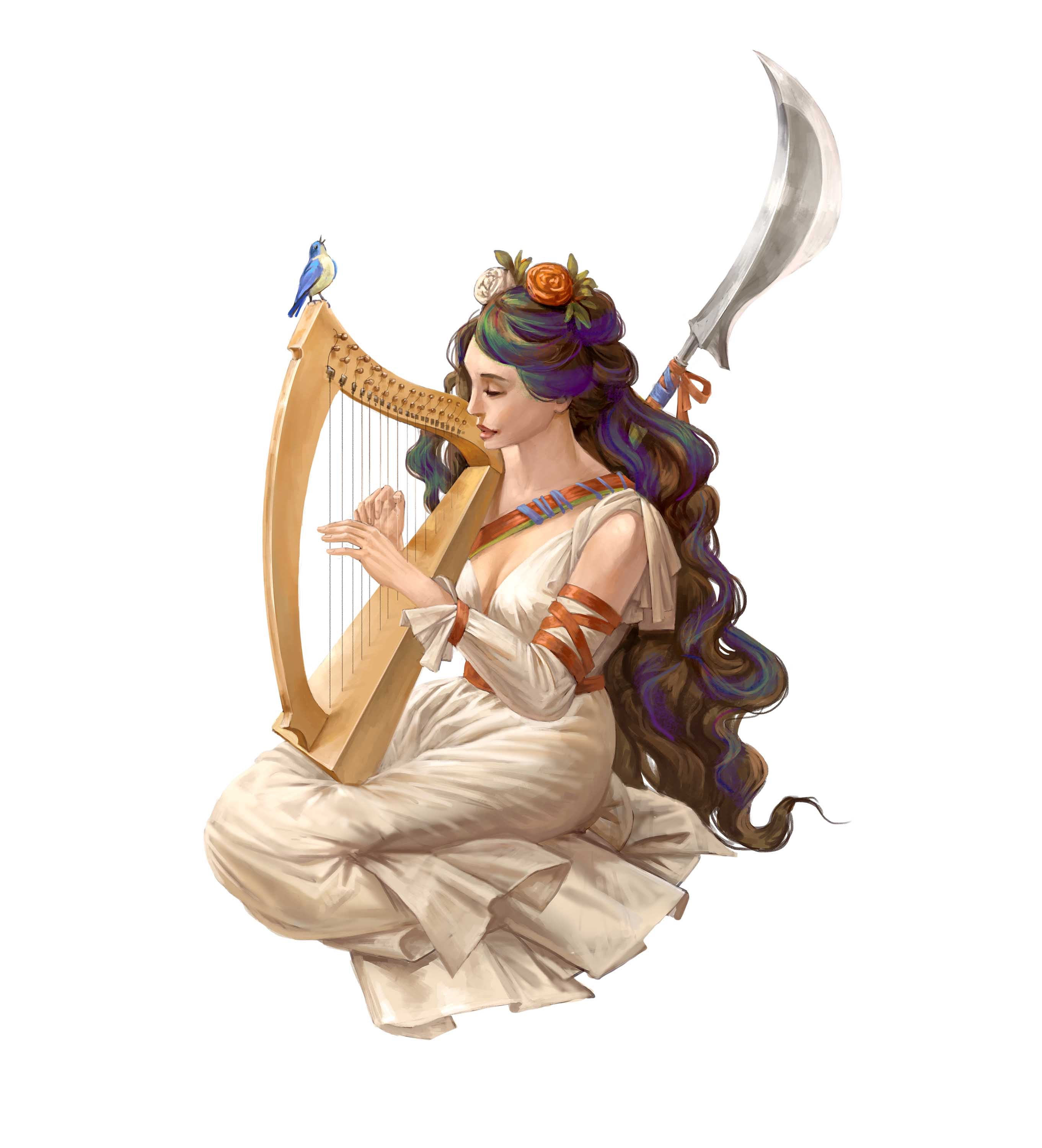 Shelyn, goddess of art and beauty, playing a harp.