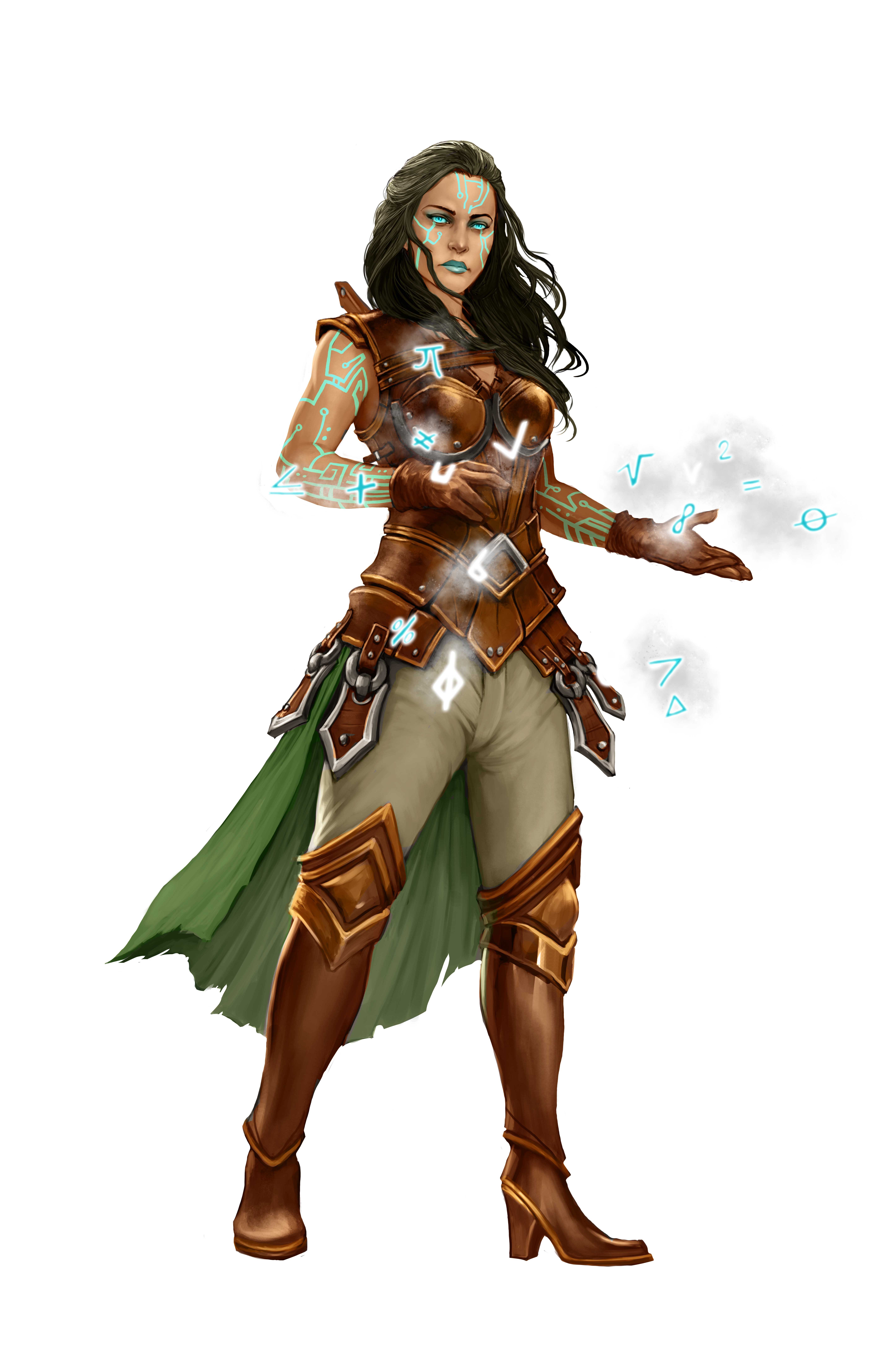 Casandalee, goddess of artificial life and free thinking, producing runes and mathematical symbols.