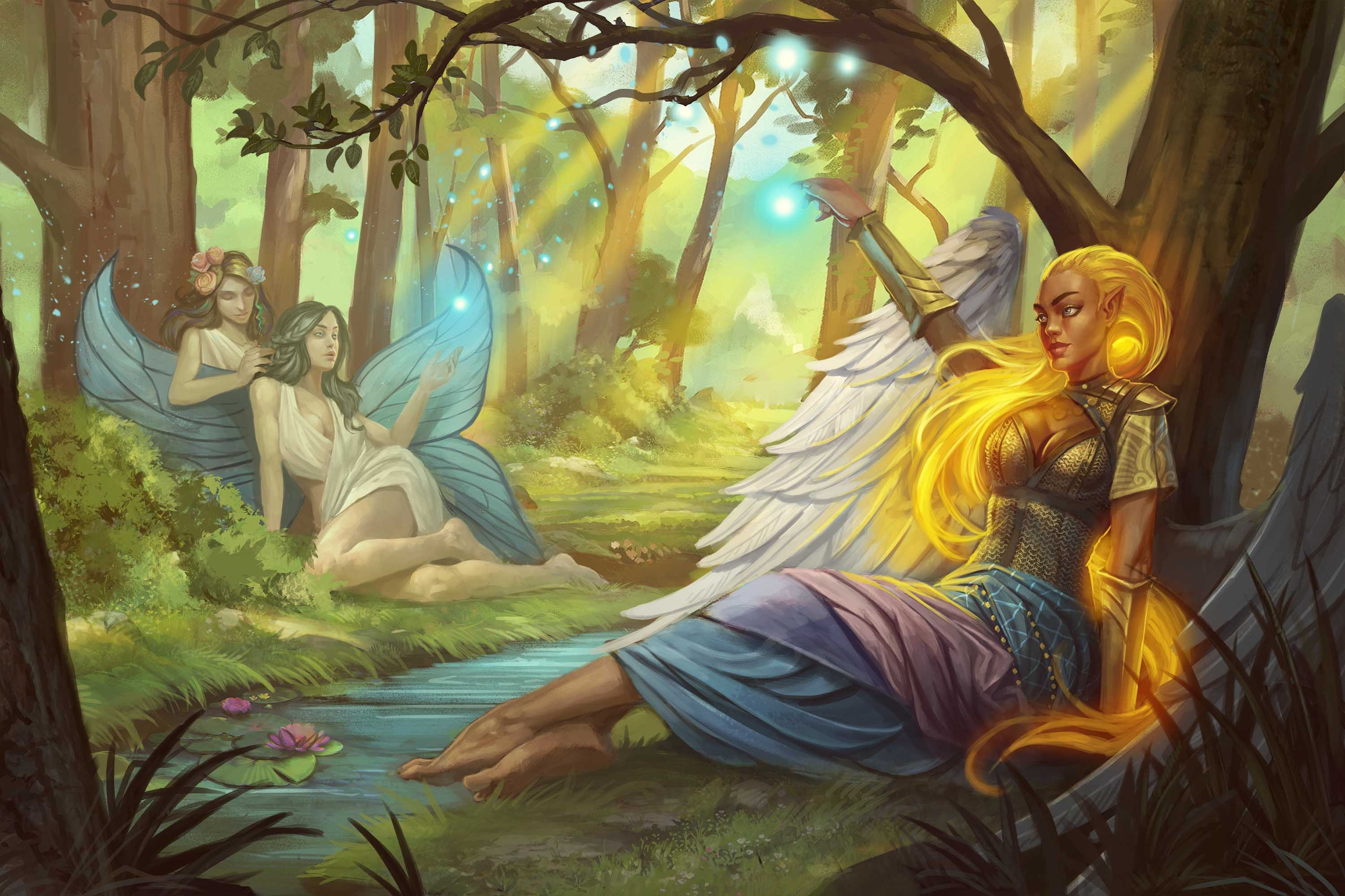 Desna, Shelyn, and Sarenrae rest in a beautiful forest clearing.