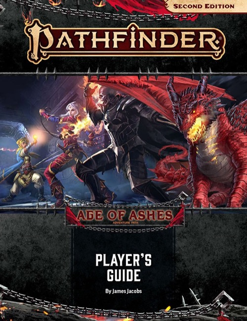 Ages of Ashes Player's Guide cover image: Merisiel faces off against a skull-headed opponent in imposing black plate armor, while Kyra raises a holy symbol defiantly in the background and a fearsome red dragon looms over the right side of the image.