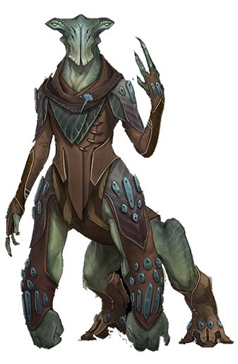 A large green alien with a quadruped-like lower body, humanoid torso and wide head raises one hand as if in greeting.