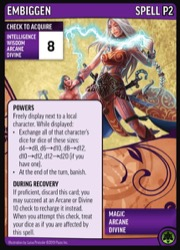 The Embiggen promo card, featuring an illustration of Seoni, the iconic sorcerer at double her height, to demonstrate the spell Embiggen.