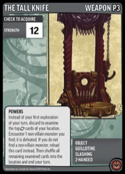 The Tall Knife promo card, featuring a stylized guillotine weapon.