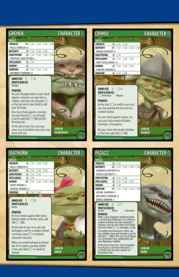 A preview of the four new goblin character cards from the Cookedtoes tribe, including Grenek, Crimsi, Siathorn, and Pizazz.