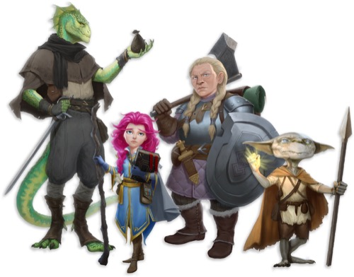 4 Pathfinder Oblivion Oath player character illustrations, from left to right: Zel, a green lizardfolk rogue with one hand resting his sword and balancing a bag of coins in the other, Mykah, a pink-haired gnome wizard carries a staff and spellbook in her hands, Carina, a blonde dwarf champion wields an axe and shield, and Qundle, a grey silver-eyed goblin sorcerer clutches a golden light and spear.