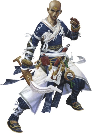 Artist's rendering of a bald tan man dressed in blue, white, and gold weilding a temple sword.