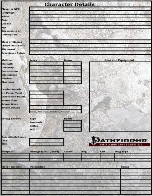 starfinder character sheet editable