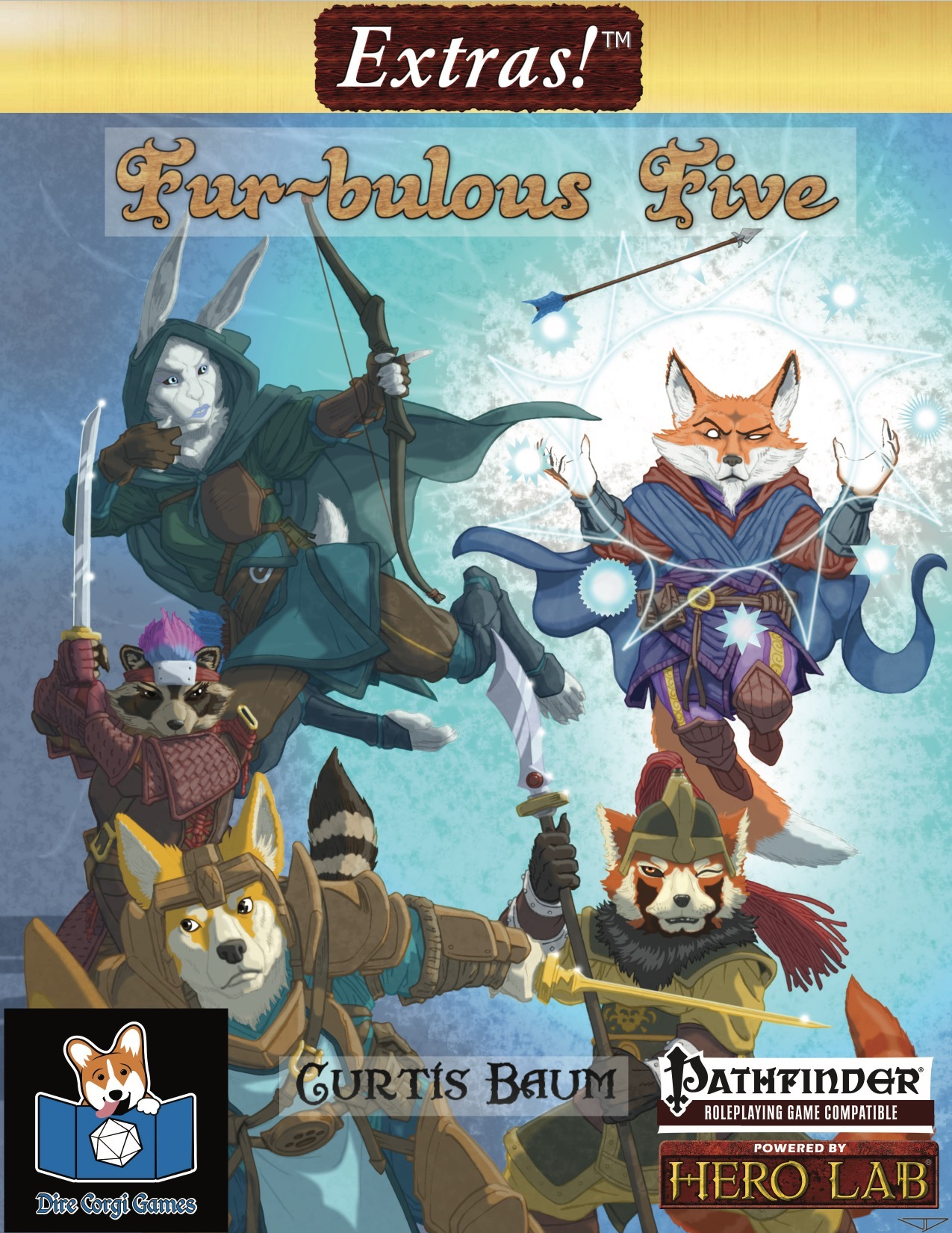Fur-bulous Five: cover featuring animal based playable races including a rabit, fox, badger, red panda, and corgi