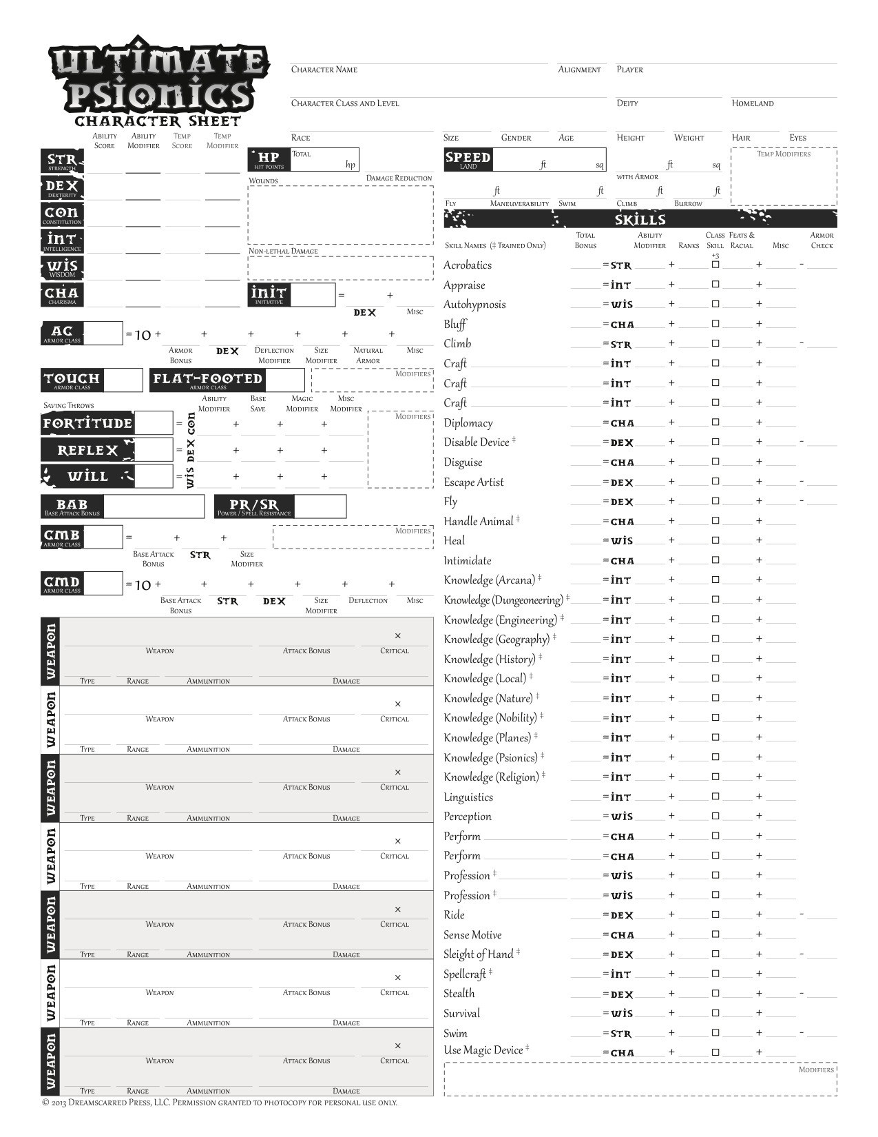 image regarding Pathfinder Character Sheets Printable called Psionic Individuality Sheets (PFRPG) PDF