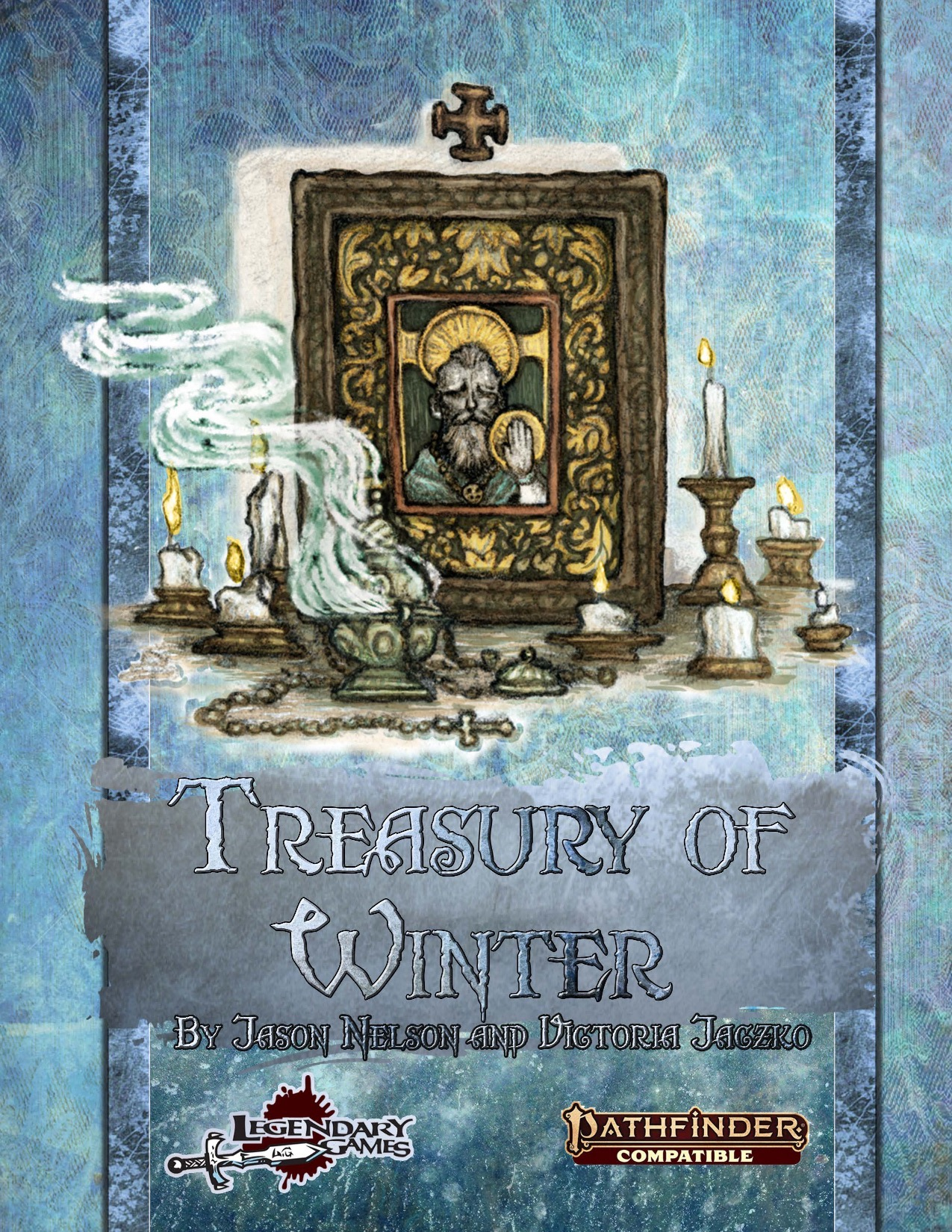 Treasury of Winter PDF: cover featuring a small gold shrine with the image of a saint surrounded by candles and incense