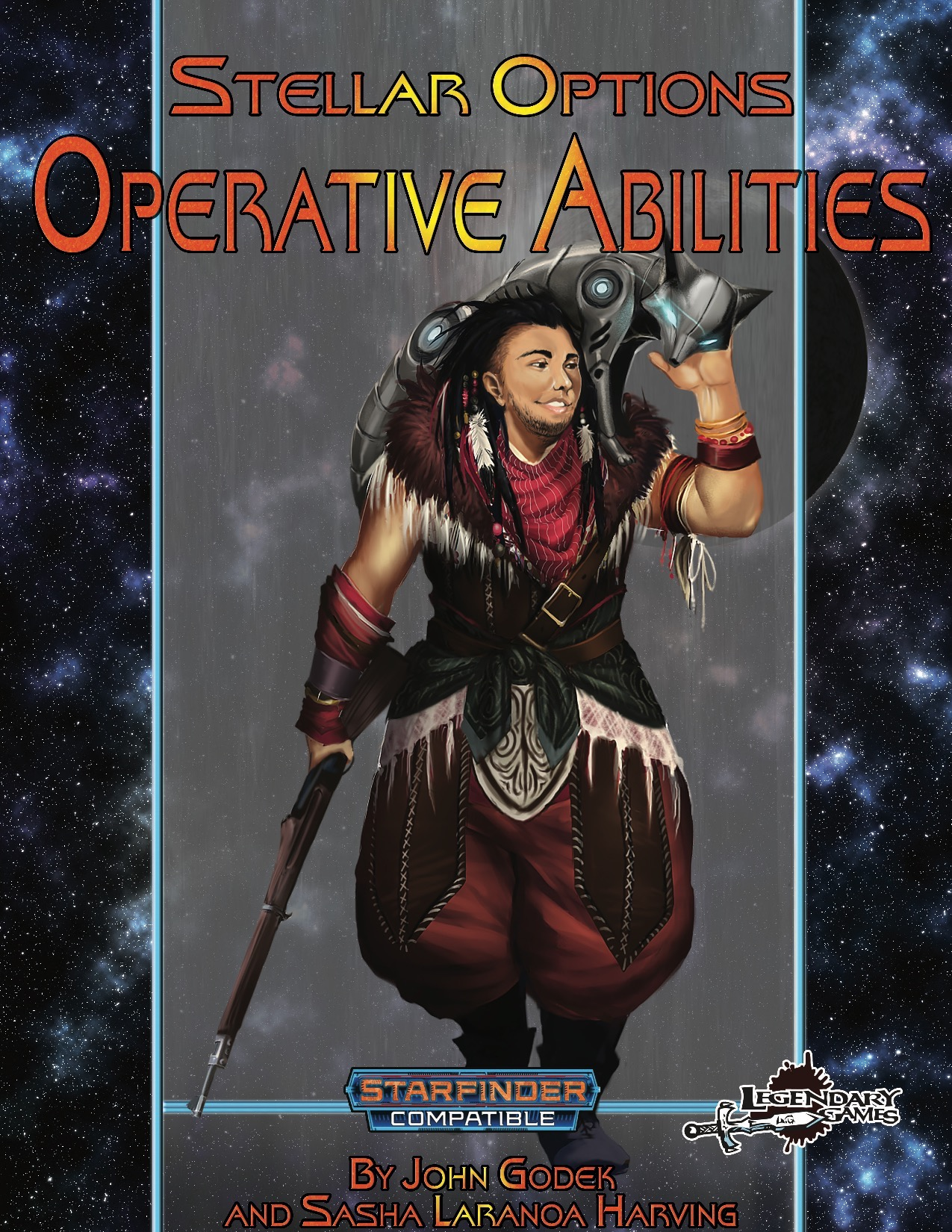 Stellar Options 5, Operative Avilities PDF. Cover featureing a man dressed in red and brown leather with a gun in one hands and a robotic fox on his shoulder