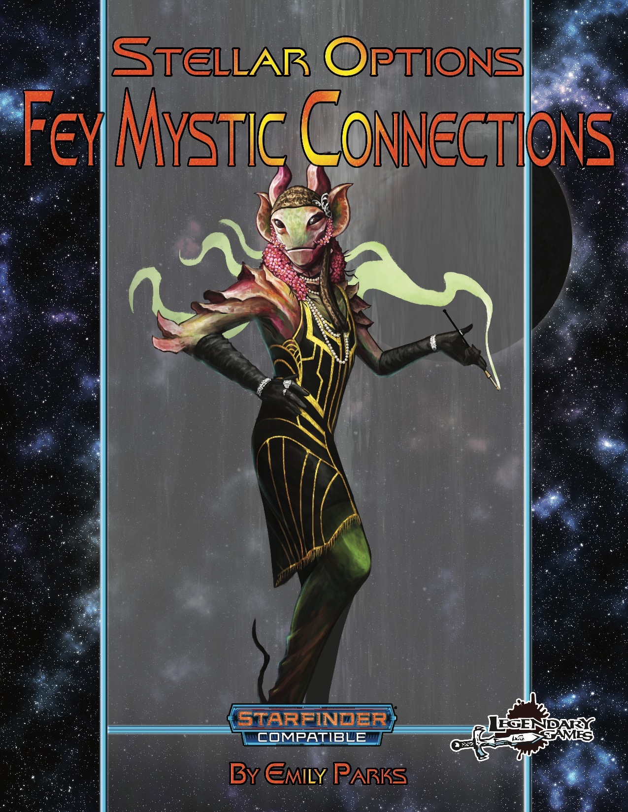 Stellar Options #6: Fey Mystic Connections (SFRPG) PDF: an alien stands in a beaded dress with elbow length gloves and a long cigarette holder in one hand