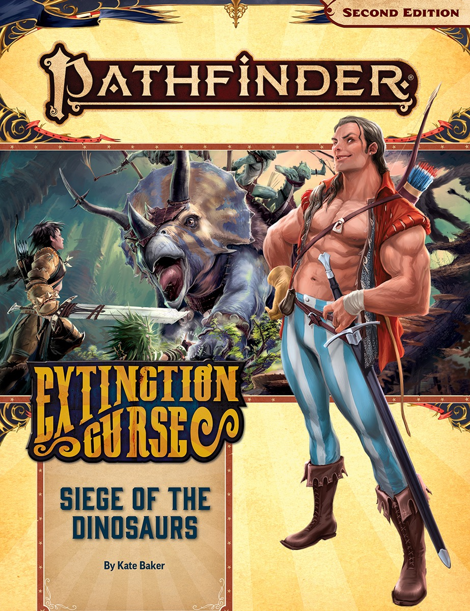 Pathfinder Extinction Curse, Siege of the Dinosaurs cover.