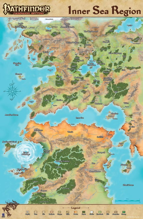 Inner Sea Map paizo.  Pathfinder Campaign Setting: Inner Sea Region Poster Map