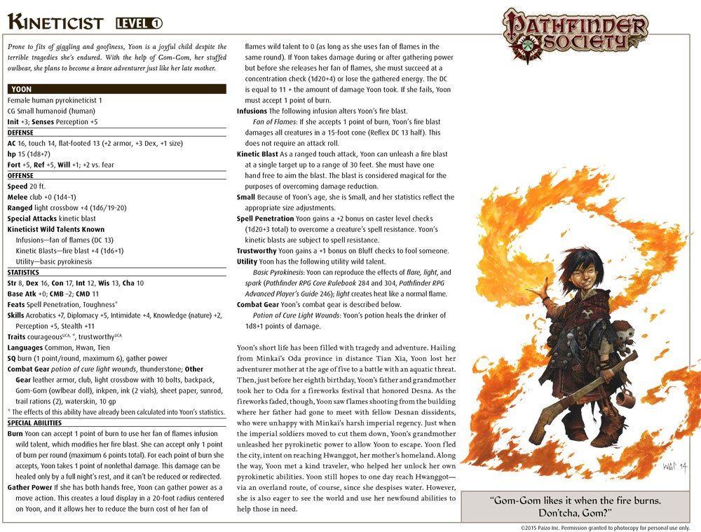 Community Use Package: Pathfinder Society Pregenerated Characters