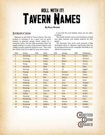 Roll With It! Tavern Names PDF