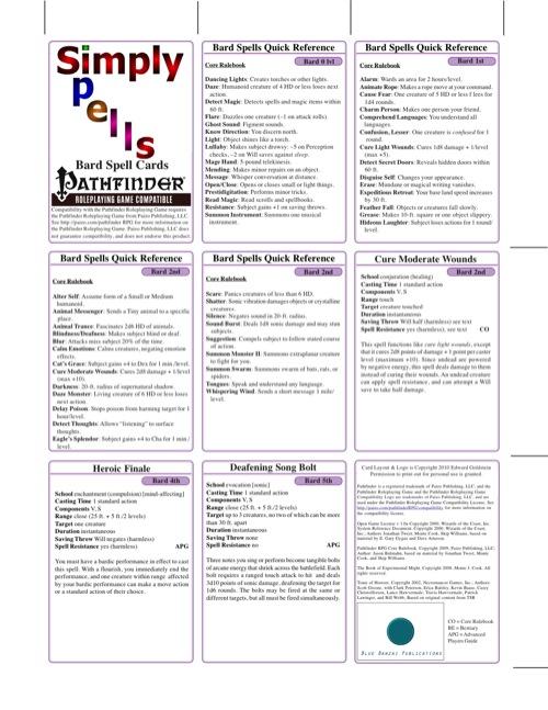 paizo com - Simply Spells: Bard Spell Cards (PFRPG) PDF