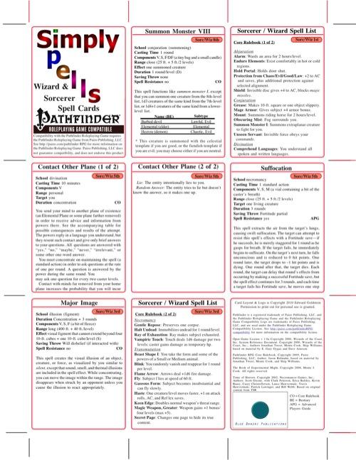 Simply Spells: Sorcerer/Wizard Spell Cards (PFRPG) PDF