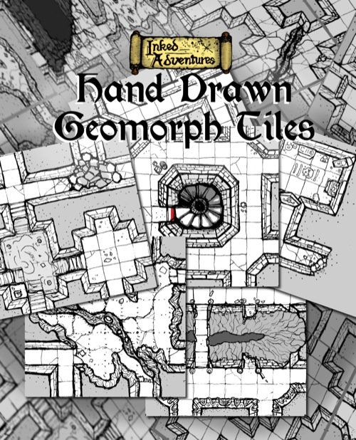 graphic relating to Printable Dungeon Tiles Pdf named - Inked Adventures: Hand-Drawn Geomorph Tiles PDF